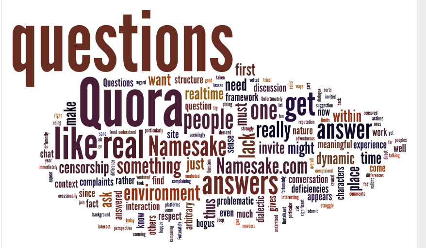 Quora and Namesake post words as art